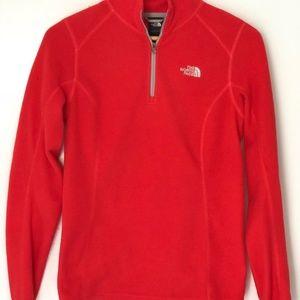 Bright Red North Face 1/4 Zip Fleece